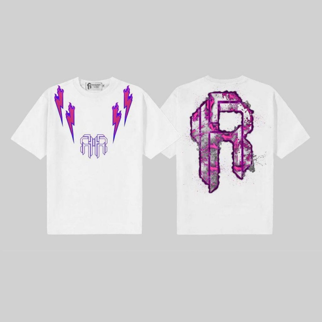 Double Logo Baby Pink , White T-shirt
